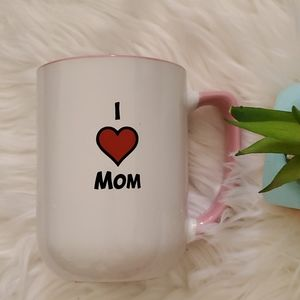 I Love Mom White Pink Coffee Mug Cup